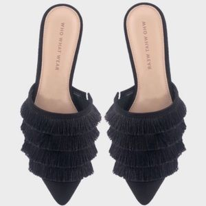 WHO WHAT WEAR Tiered Fringe Chic Slip on shoes